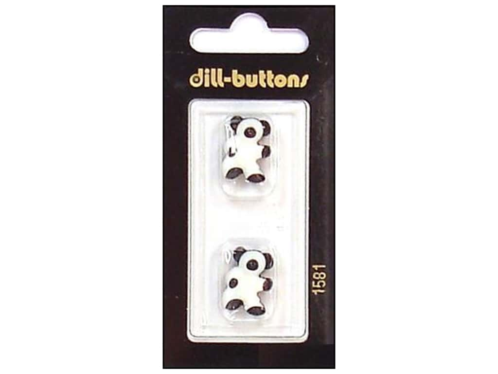 Dill Shank Buttons 11/16 in. Black/White Bear #1581 2 pc.