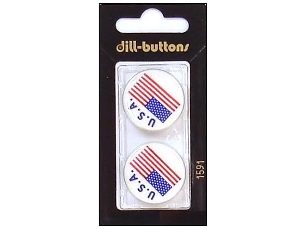Dill Shank Buttons 1 in. USA Flag #1591 2 pc.