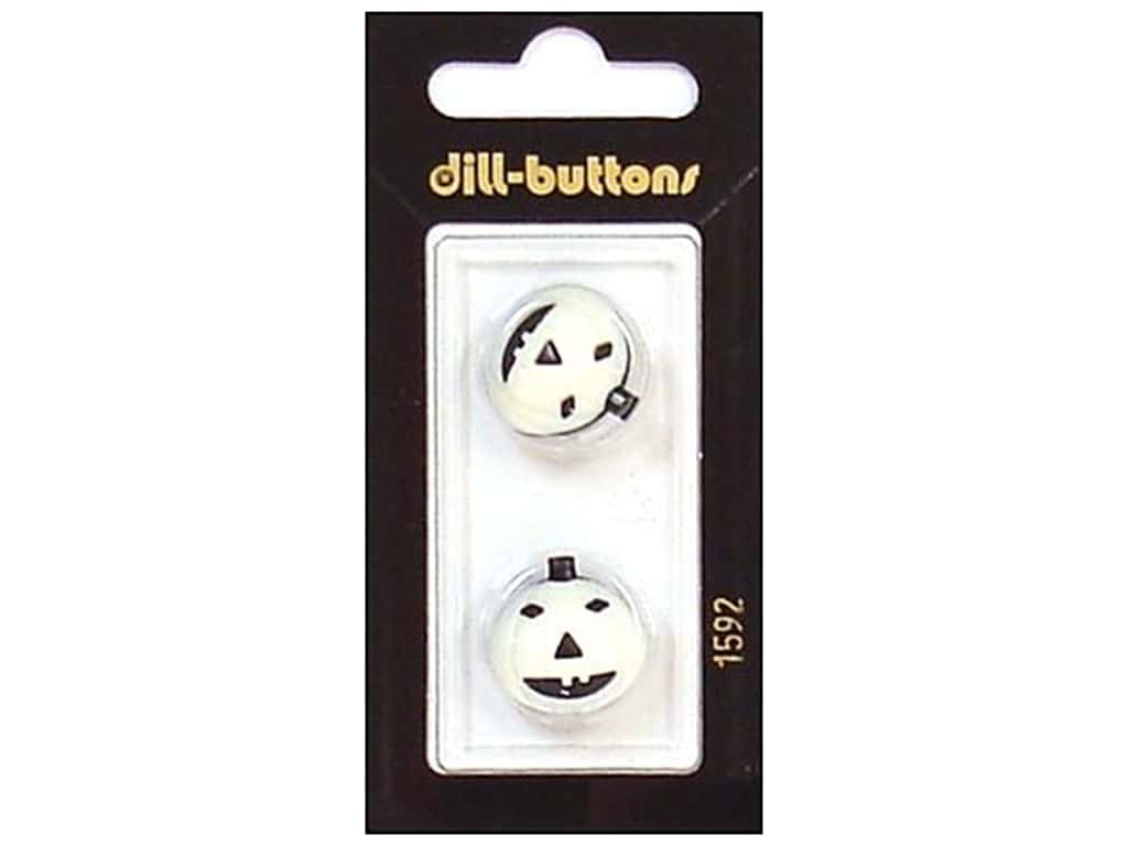 Dill Shank Buttons 11/16 in. White/Black Pumpkin #1592 2 pc.