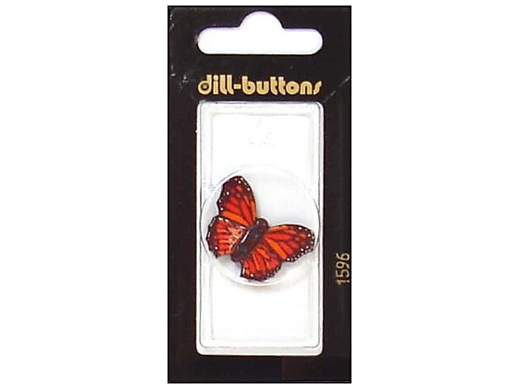 Dill 2 Hole Buttons 1 1/8 in. Red Butterfly #1596 1 pc.