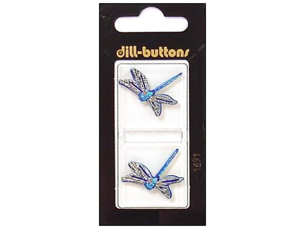 Dill Shank Buttons 1 in. Blue Dragonfly #1691 2 pc.