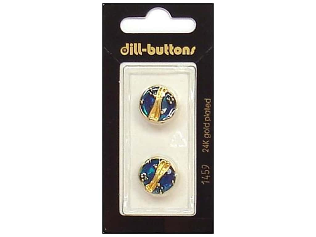 Dill Shank Buttons 5/8 in. Enamel Blue/Gold #1459 2 pc.
