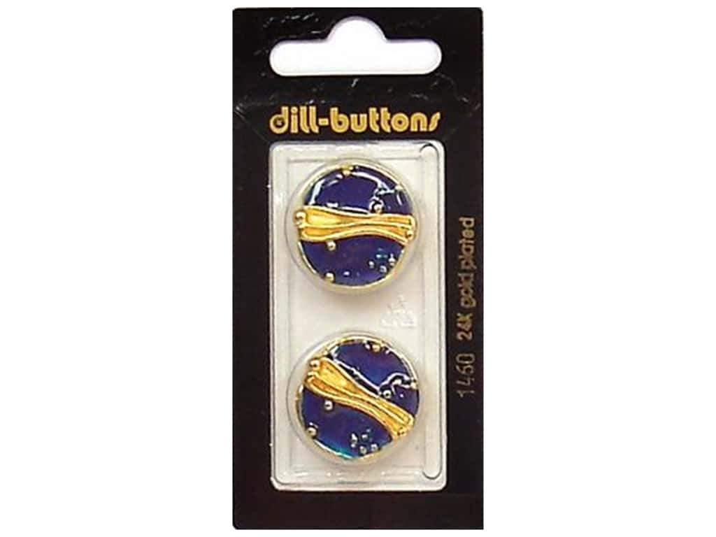 Dill Shank Buttons 7/8 in. Enamel Blue/Gold #1460 2 pc.