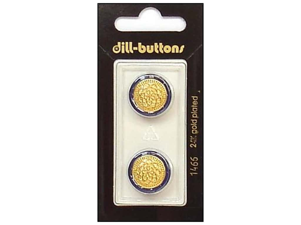 Dill Shank Buttons 11/16 in. Blue/Gold Metal #1466 2 pc.