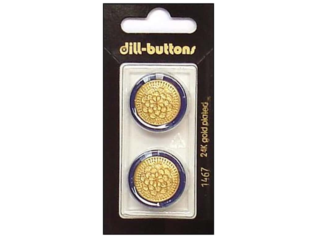 Dill Shank Buttons 7/8 in. Blue/Gold Metal #1467 2 pc.