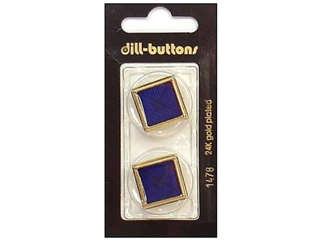 Dill Shank Buttons 1 in. Enamel Navy/Gold #1478 2 pc.