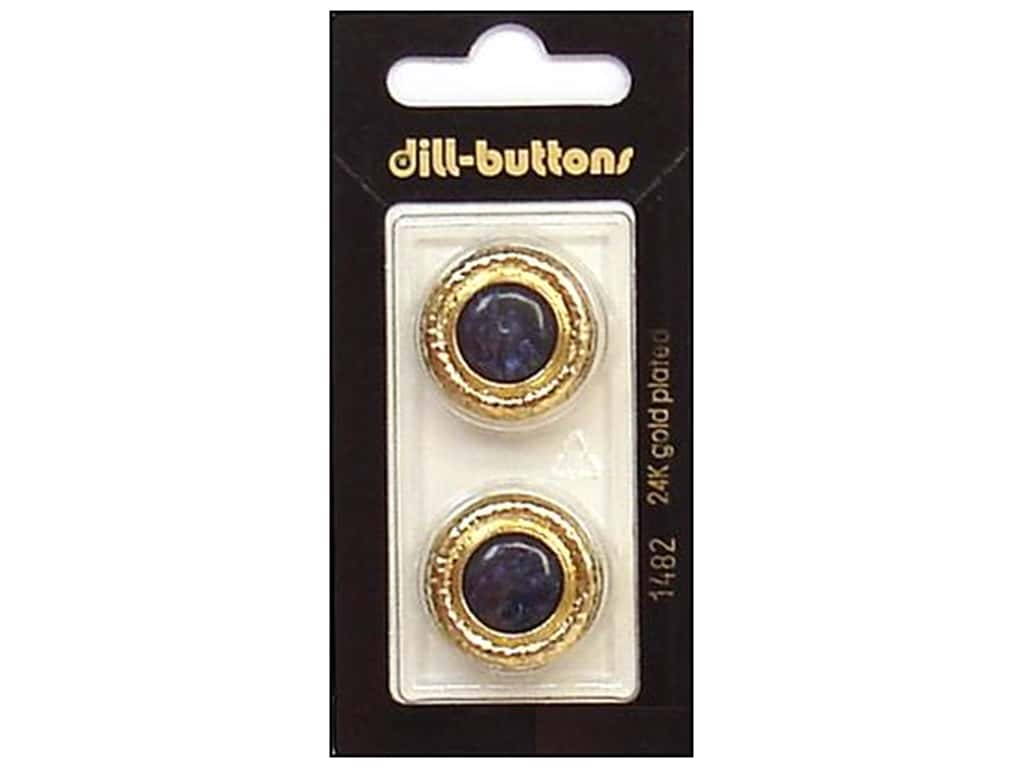Dill Shank Buttons 7/8 in. Navy/Gold Metal #1482 2 pc.