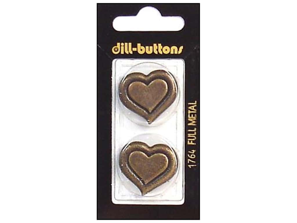 Dill Shank Buttons 1 in. Antique Gold Metal Heart #1764 2 pc.