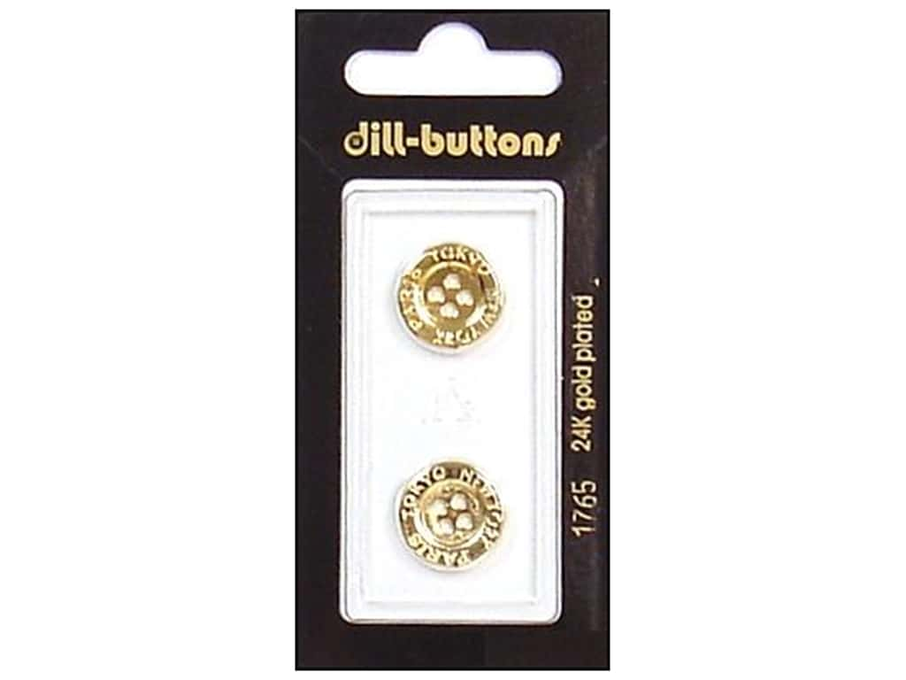 Dill 4 Hole Buttons 5/8 in. Gold Metal #1765 2 pc.