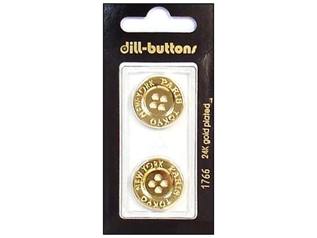 Dill 4 Hole Buttons 13/16 in. Gold Metal #1766 2 pc.