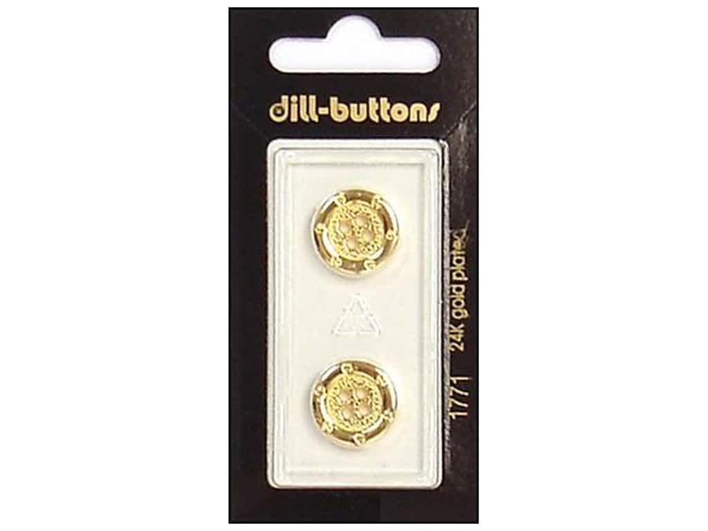 Dill 4 Hole Buttons 5/8 in. Gold #1771 2 pc.