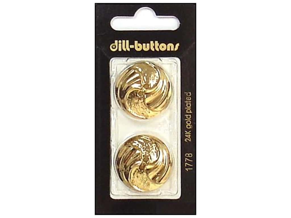 Dill 2 Hole Buttons 1 in. Gold #1778 2 pc.