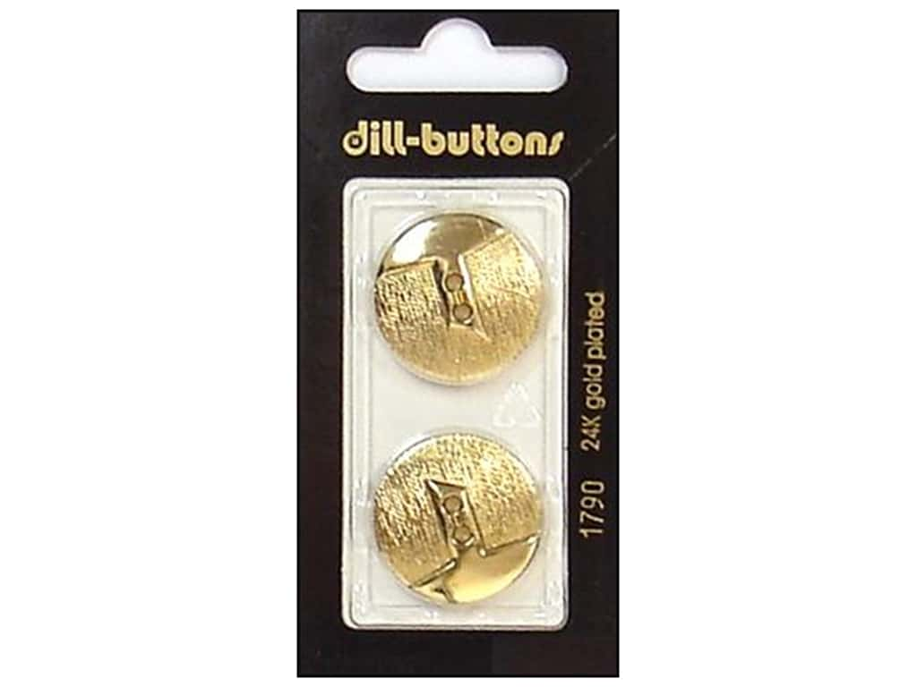 Dill 2 Hole Buttons 7/8 in. Gold #1790 2 pc.