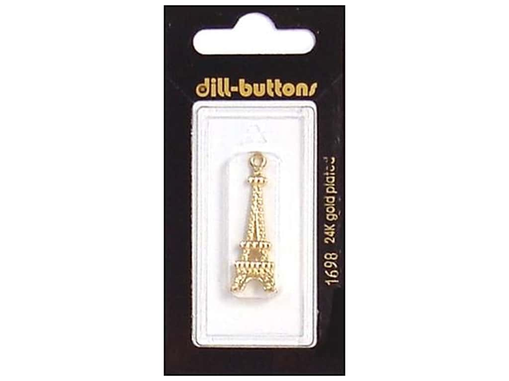 Dill Buttons 1 3/8 in. Gold Eiffel Tower Charm #1698 1 pc.