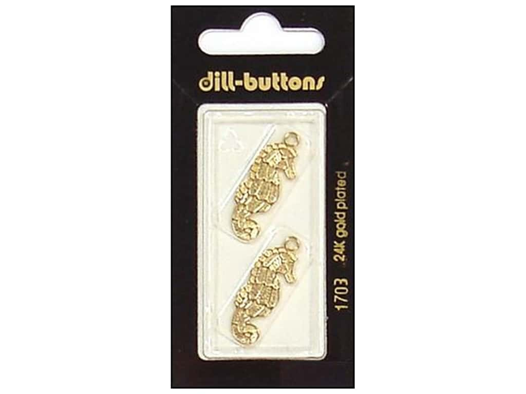 Dill Buttons 1 in. Gold Seahorse Charm #1703 2 pc.