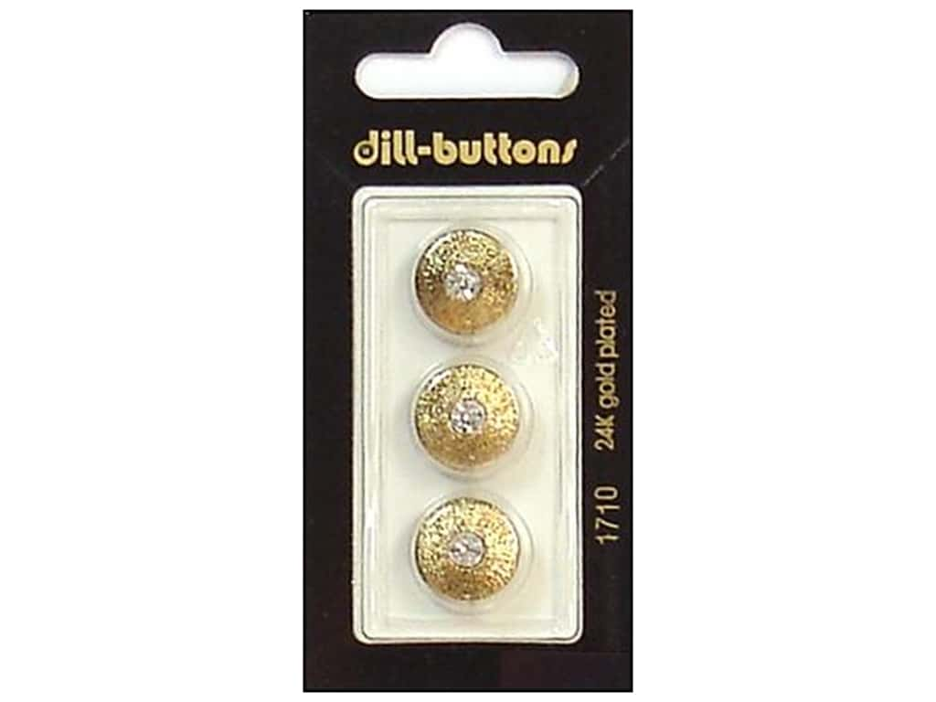 Dill Shank Buttons 9/16 in. Rhinestone Antique Gold #1710 3 pc.