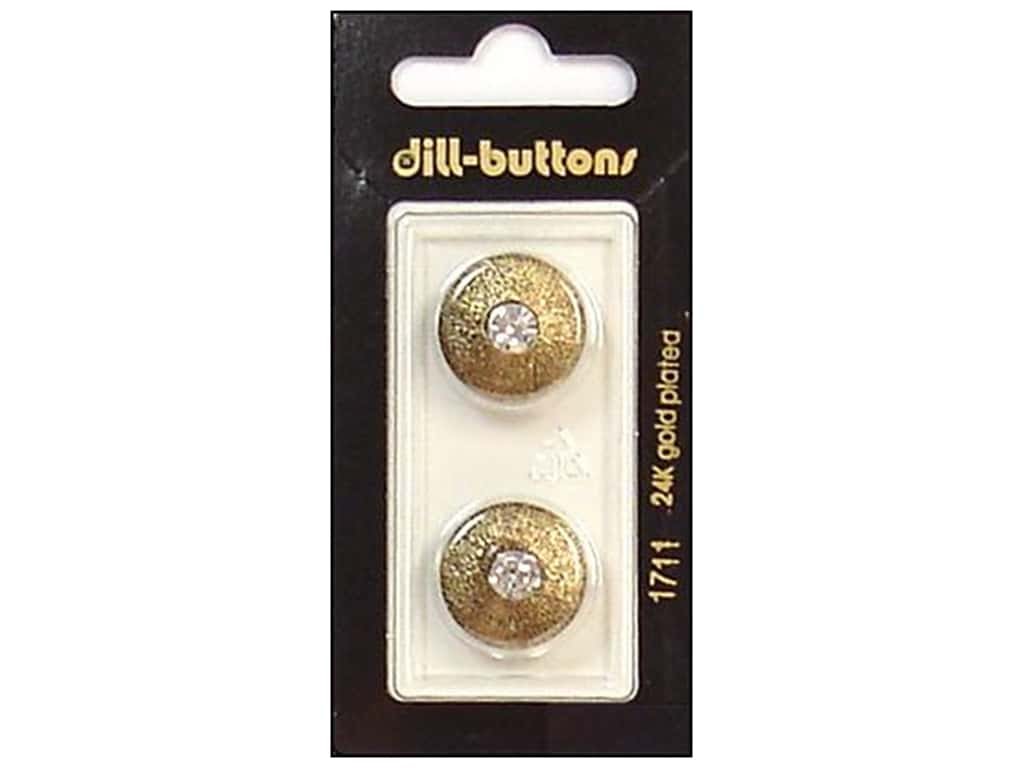 Dill Shank Buttons 11/16 in. Rhinestone Antique Gold #1711 2 pc.