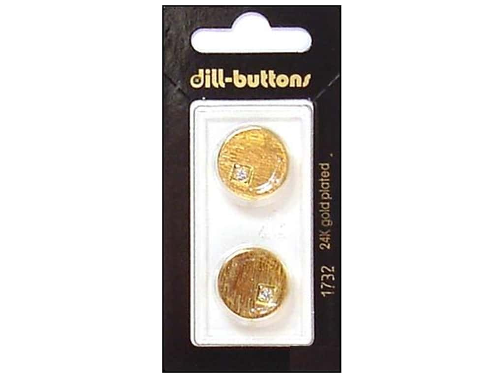Dill Shank Buttons 11/16 in. Rhinestone Gold #1732 2 pc.