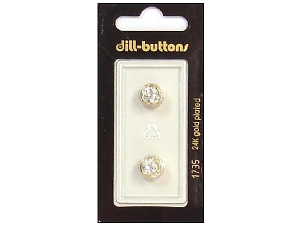 Dill Shank Buttons 3/8 in. Rhinestone Gold #1735 2 pc.