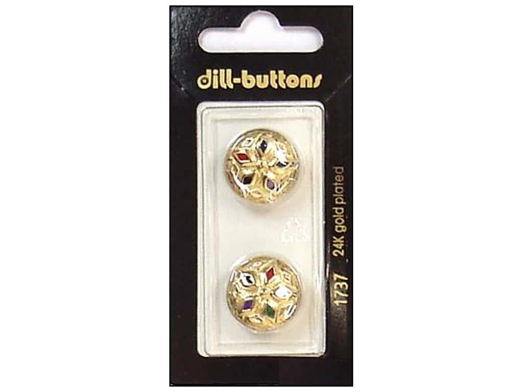 Dill Shank Buttons 11/16 in. Enamel Gold Multicolor #1737 2 pc.