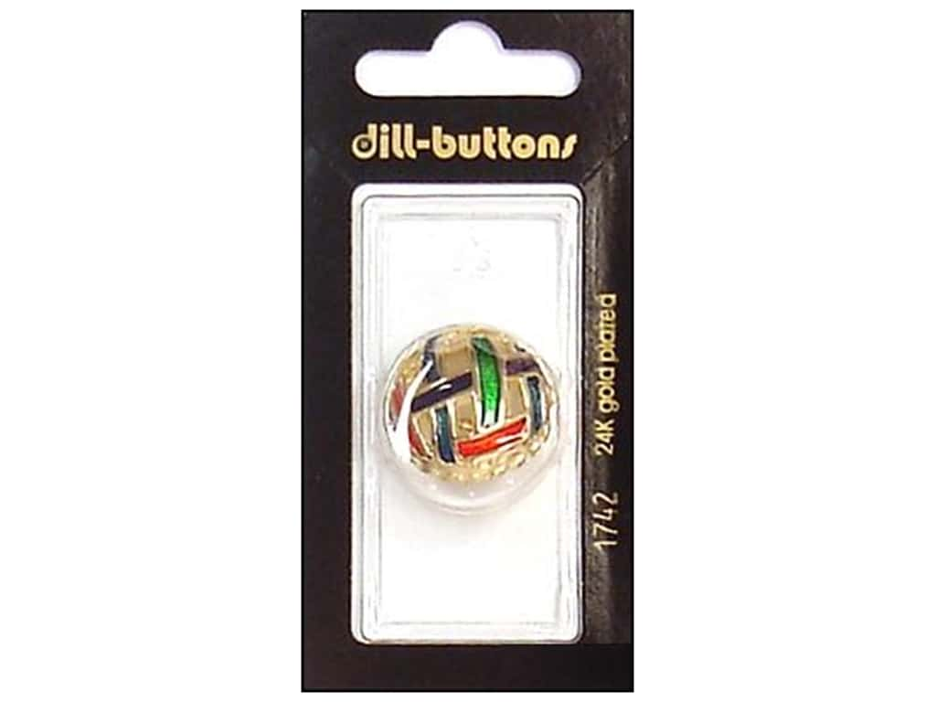 Dill Shank Buttons 7/8 in. Enamel Gold Multicolor #1742 1 pc.