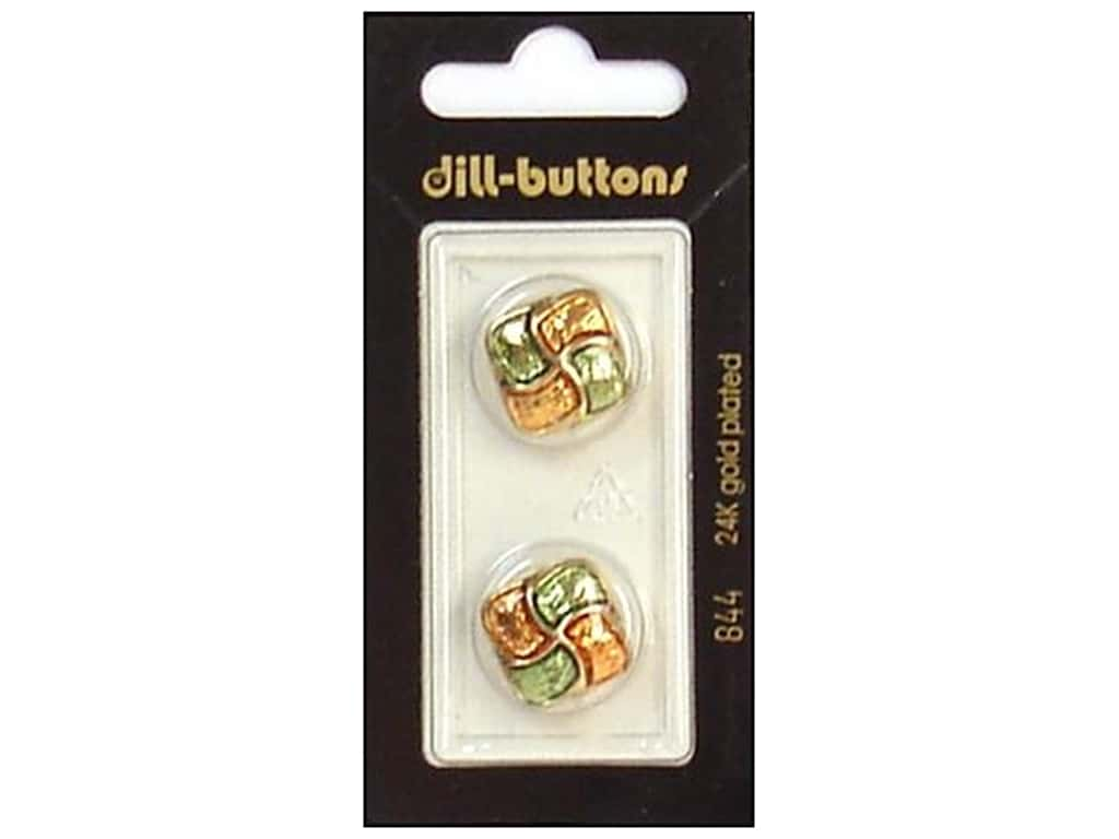 Dill Shank Buttons 11/16 in. Enamel Green/Orange #844 2 pc.