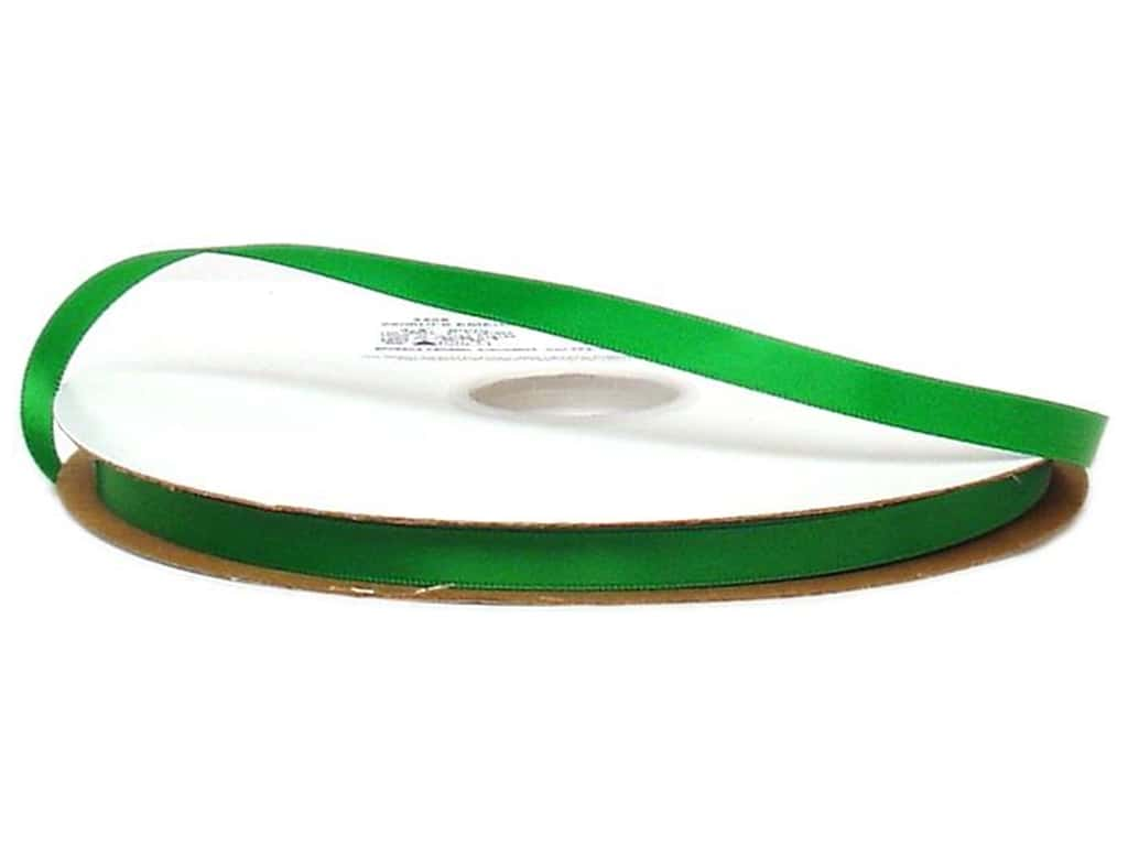 Offray Double Face Satin Ribbon 3/8 in. x 100 yd. Emerald (100 yards)