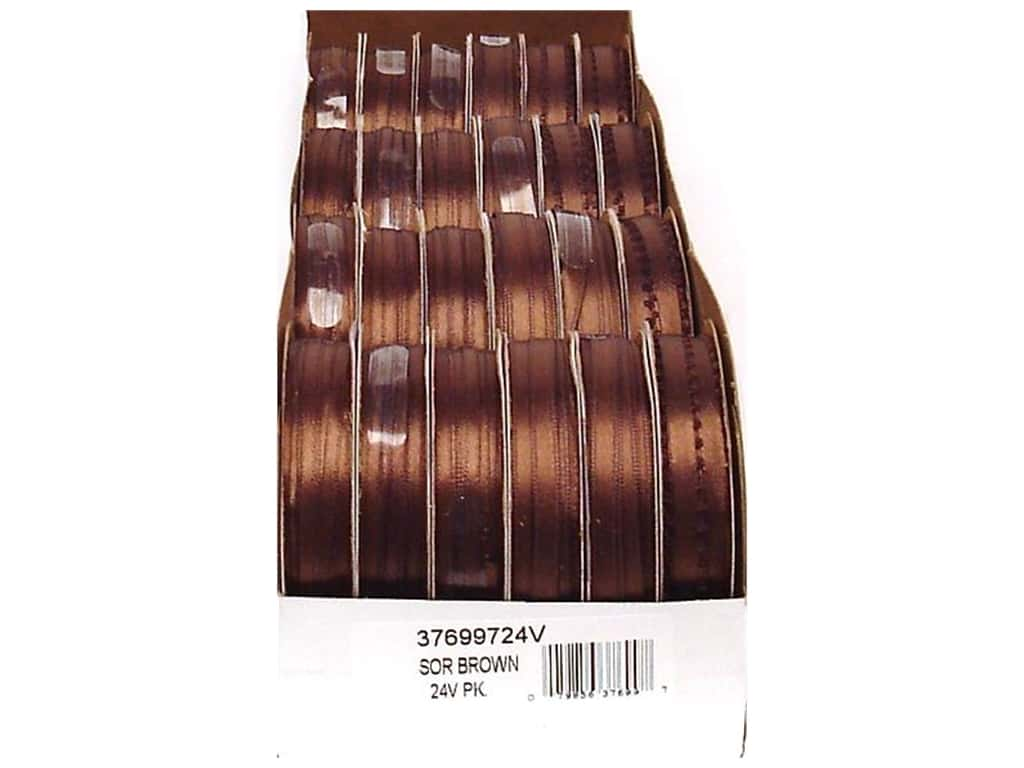 Offray Spool-O-Ribbon Double Face Satin Brown (24 spools)