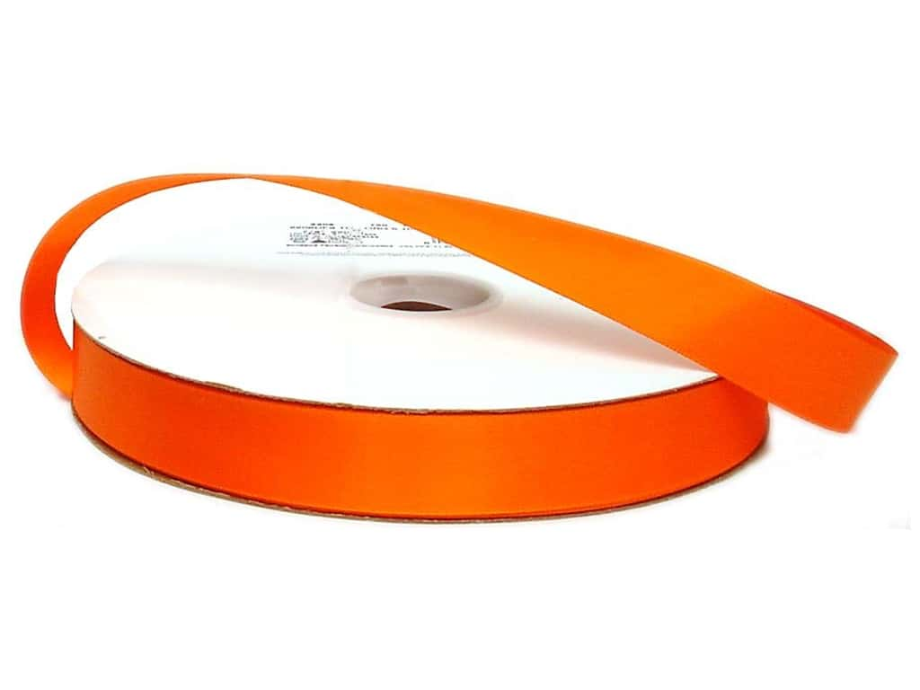 Offray Double Face Satin Ribbon 7/8 in. x 100 yd. Torrid Orange (100 yards)