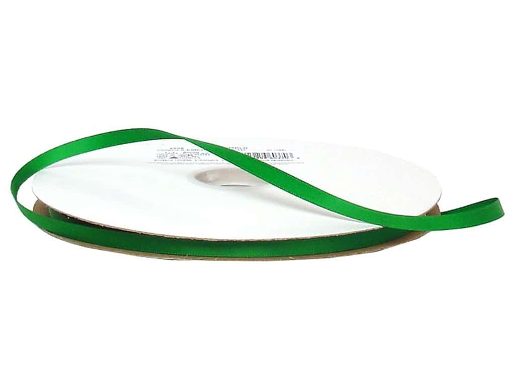 Offray Double Face Satin Ribbon 1/4 in. x 100 yd. Emerald (100 yards)