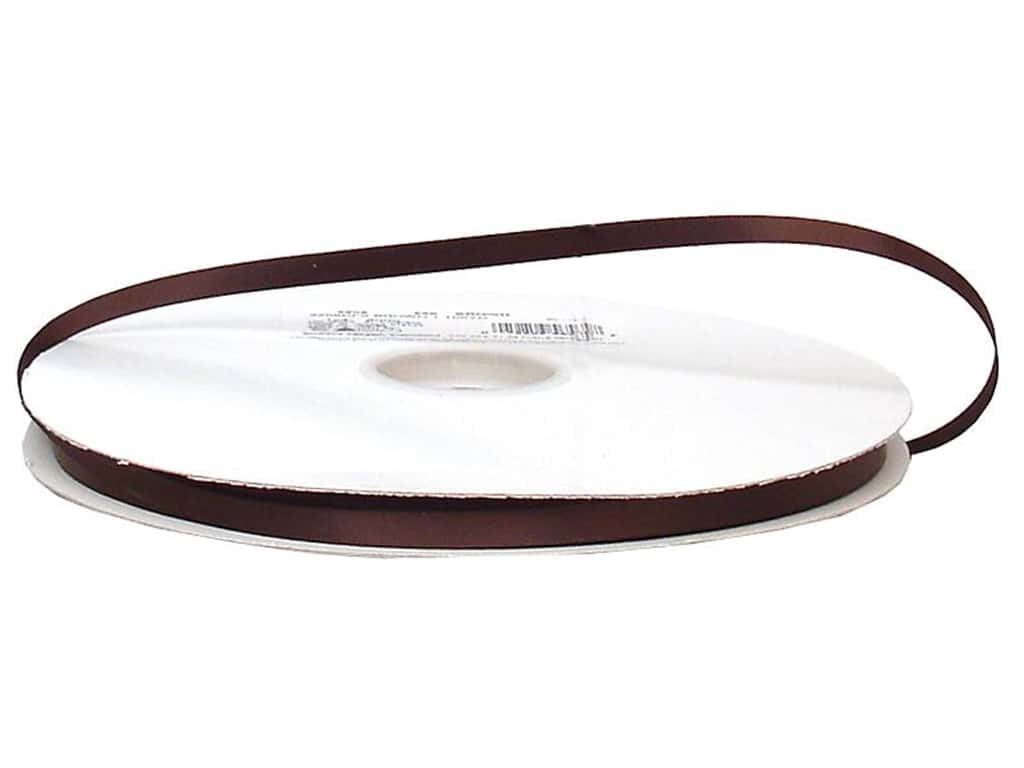 Offray Double Face Satin Ribbon 1/4 in. x 100 yd. Brown (100 yards)