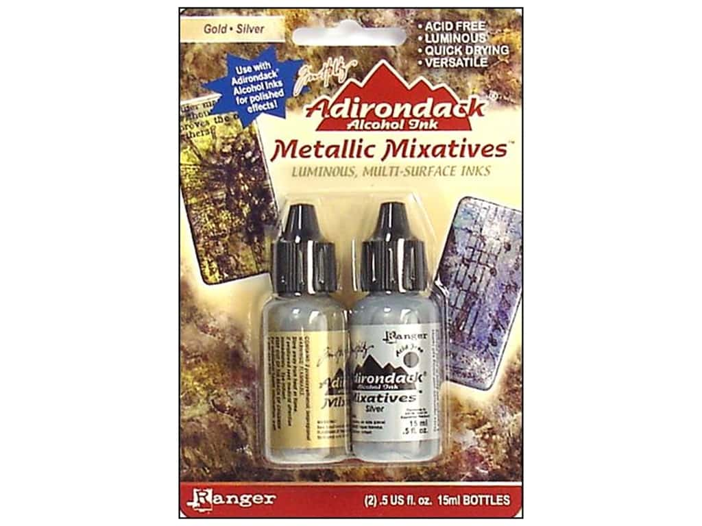 Tim Holtz Adirondack Alcohol Ink Metallic Mixative by Ranger Gold/Silver