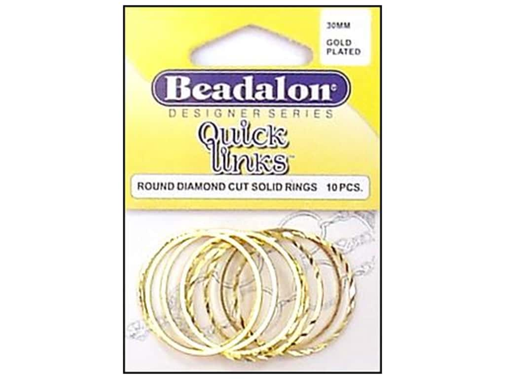 Beadalon Quick Links Round Diamond Cut 30 mm Gold Plated 10 pc.