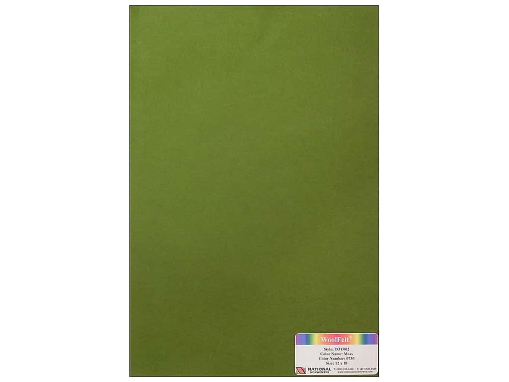 National Nonwovens 35% Wool Felt 12 x 18 in. Moss (10 sheets)