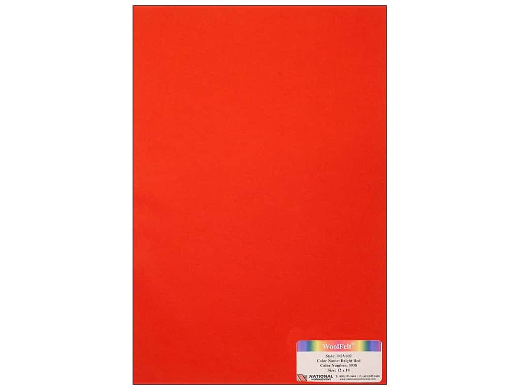 National Nonwovens 35% Wool Felt 12 x 18 in. Bright Red (10 sheets)
