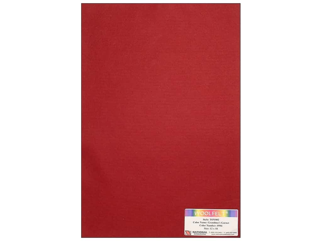 National Nonwovens 35% Wool Felt 12 x 18 in. Grandmas Garnet (10 sheets)
