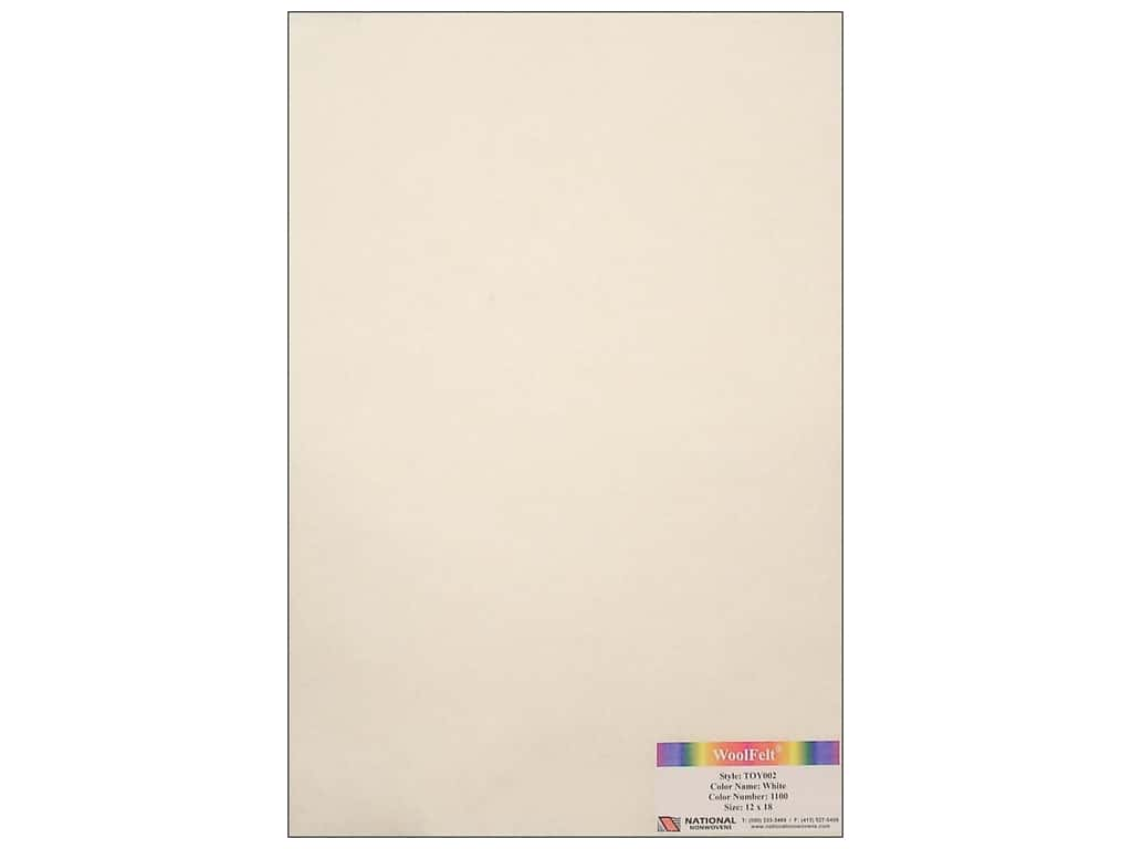 National Nonwovens 35% Wool Felt 12 x 18 in. White (10 sheets)