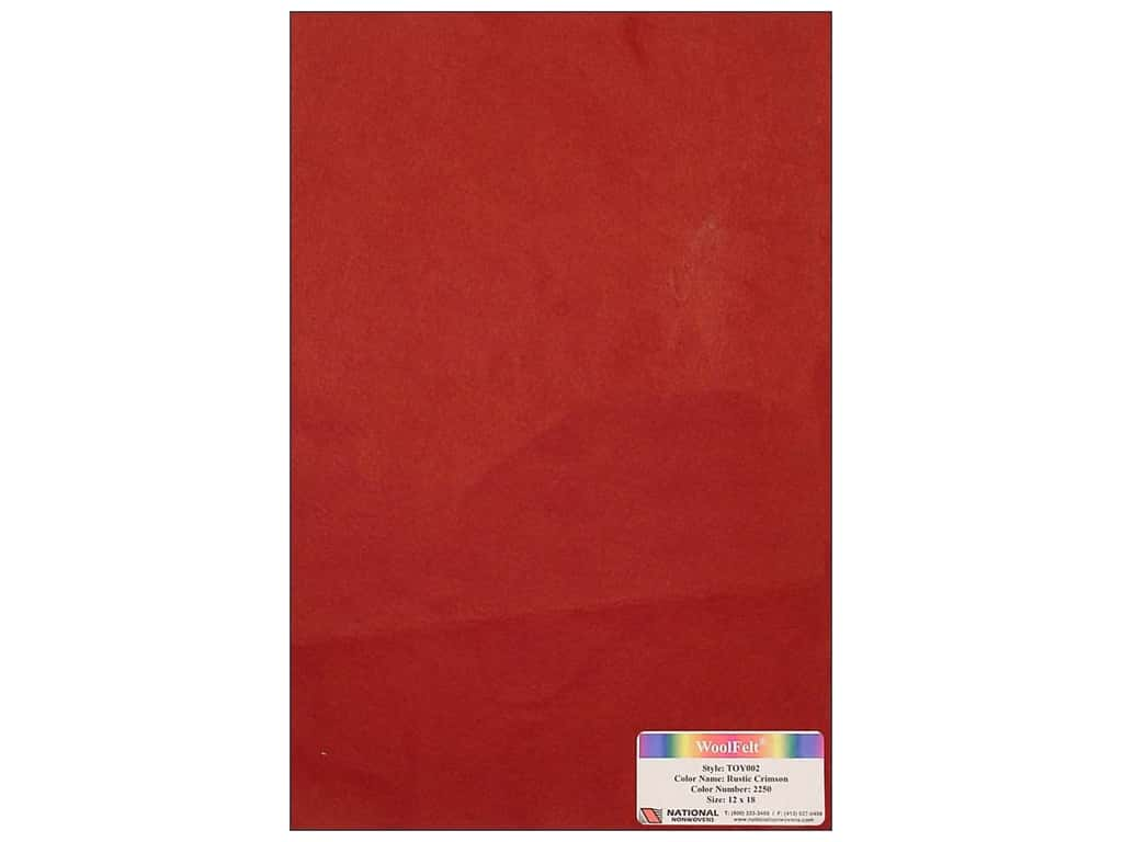 National Nonwovens 35% Wool Felt 12 x 18 in. Rustic Crimson (10 sheets)