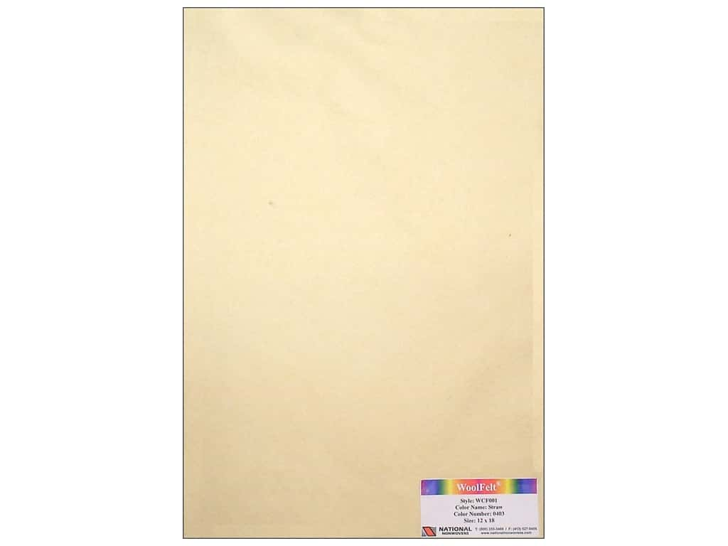 National Nonwovens 20% Wool Felt 12 x 18 in. Straw (10 sheets)