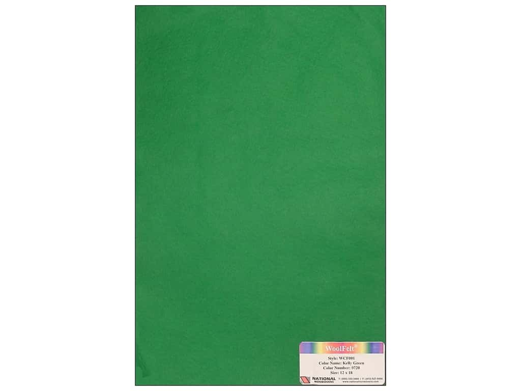 National Nonwovens 20% Wool Felt 12 x 18 in. Kelly Green (10 sheets)