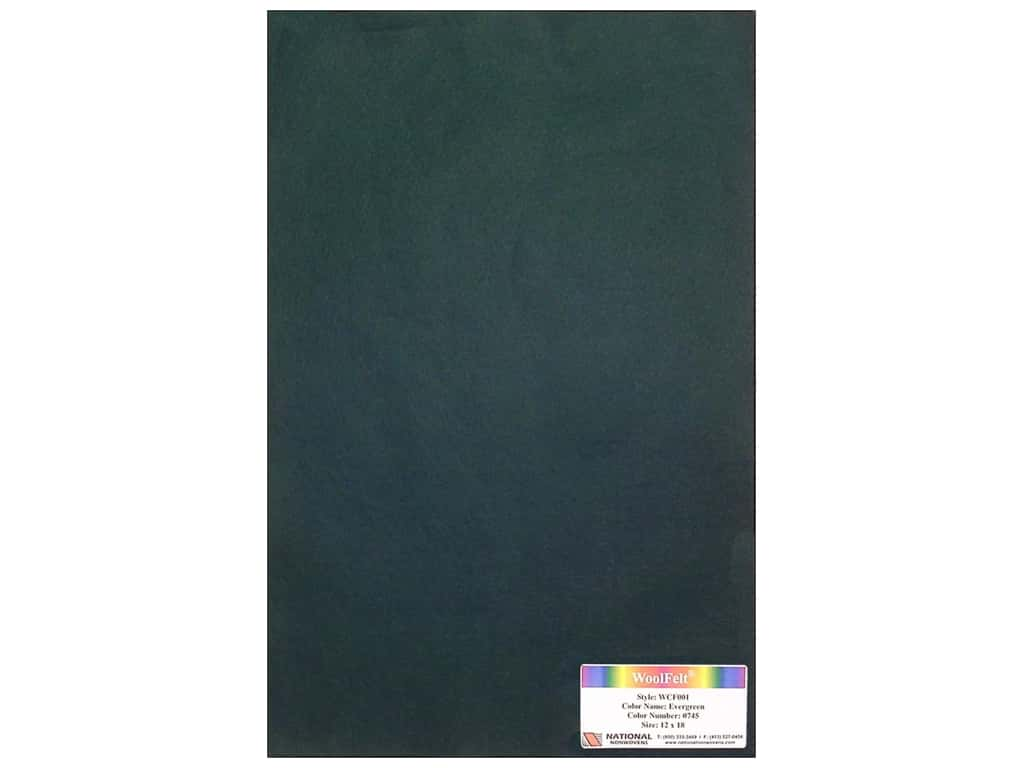 National Nonwovens 20% Wool Felt 12 x 18 in. Evergreen (10 sheets)