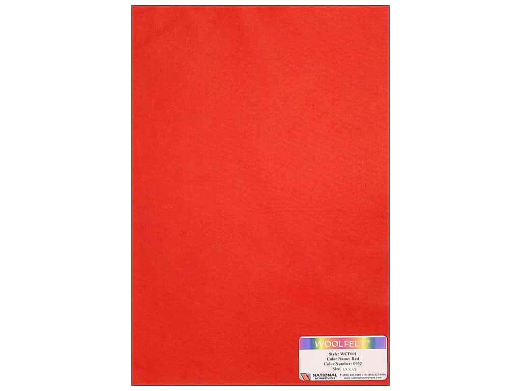 National Nonwovens 20% Wool Felt 12 x 18 in. Red (10 sheets)