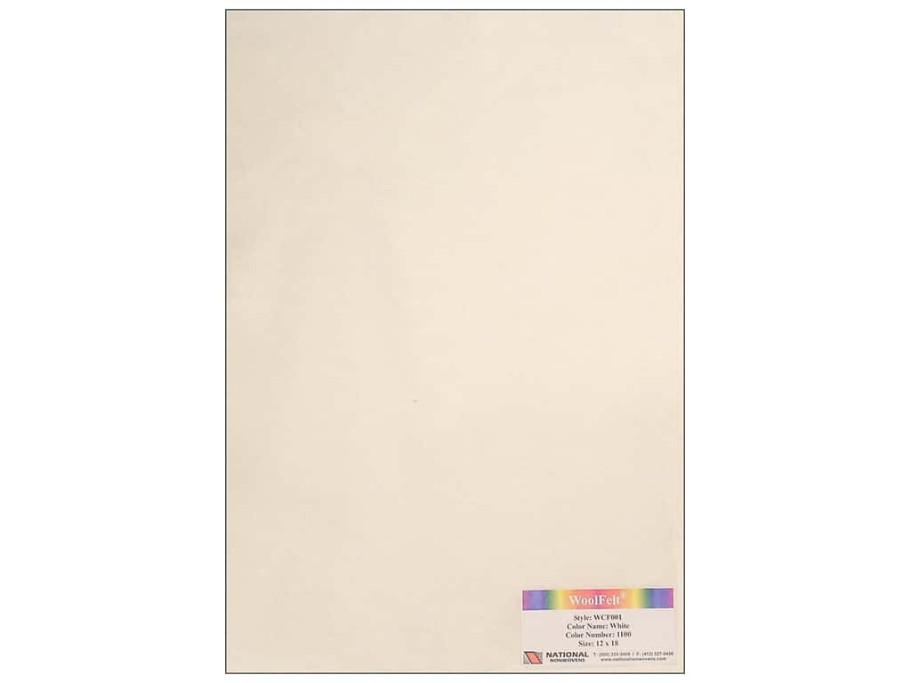 National Nonwovens 20% Wool Felt 12 x 18 in. White (10 sheets)