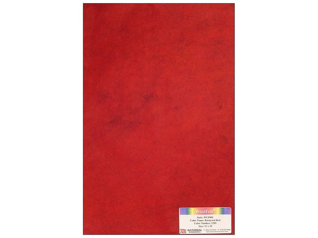 National Nonwovens 20% Wool Felt 12 x 18 in. Barnyard Red (10 sheets)