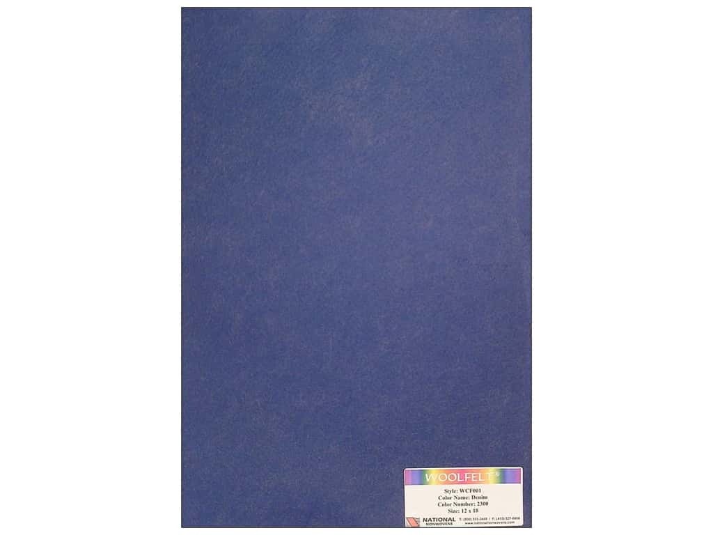 National Nonwovens 20% Wool Felt 12 x 18 in. Denim (10 sheets)