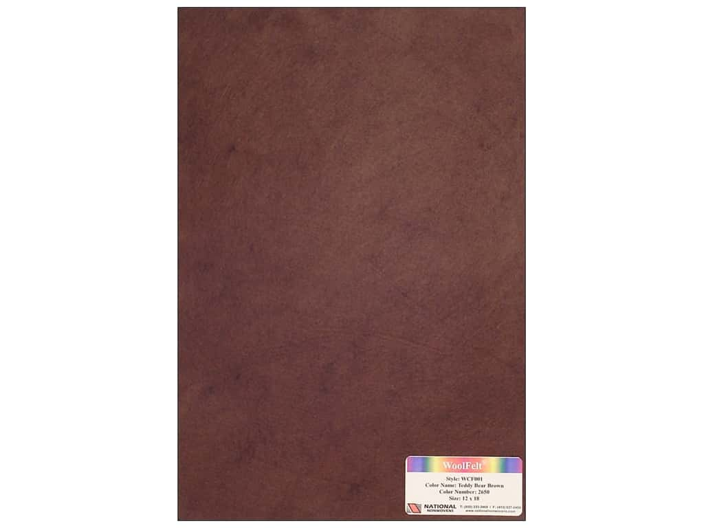 National Nonwovens 20% Wool Felt 12 x 18 in. Teddy Bear Brown (10 sheets)