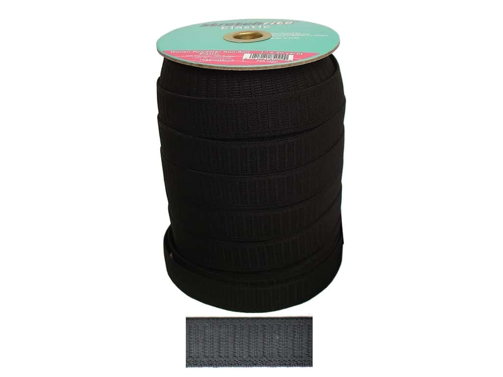 Stretchrite Non-Roll Flat Elastic 1 in. x 50 yd. Black (50 yards)