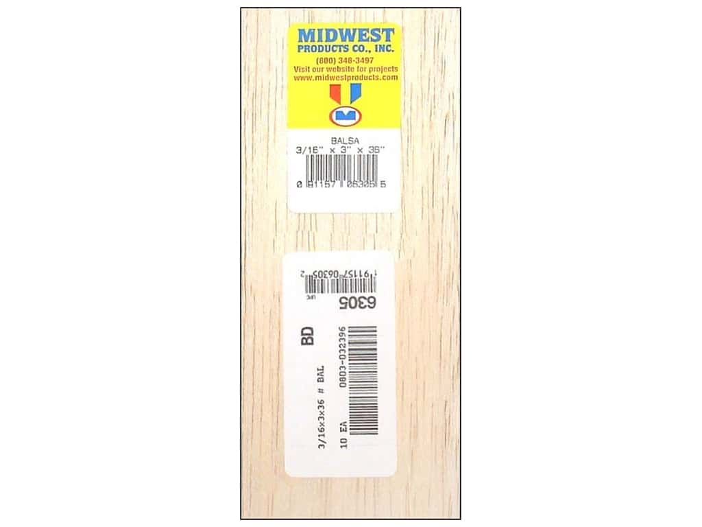 Midwest Balsa Wood Strips 3/16 x 3 x 36 in. (10 pieces)