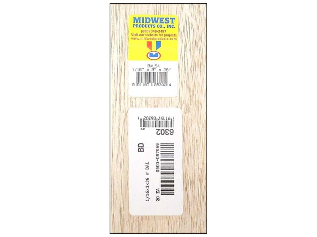 Midwest Balsa Wood Strips 1/16 x 3 x 36 in. (20 pieces)