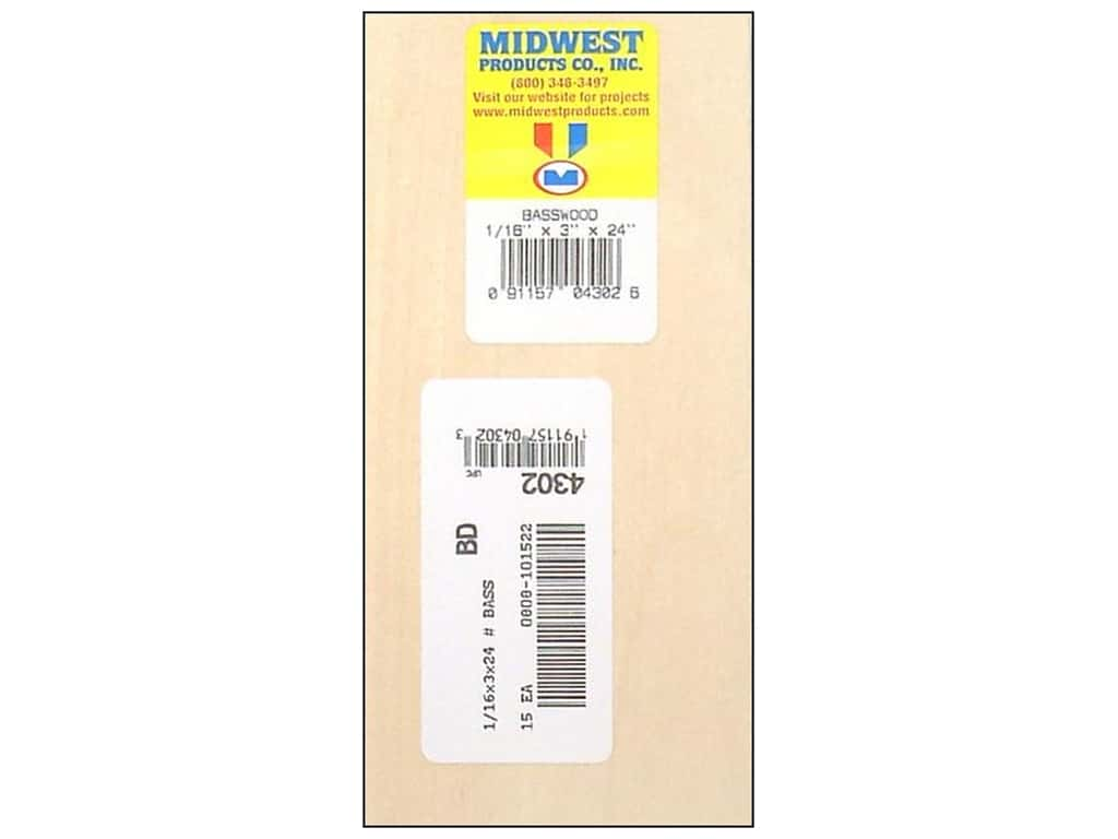 Midwest Basswood Sheet 1/16 x 3 x 24 in. (15 pieces)